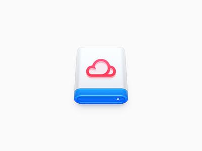 Cloud Disk Icon harddisk ux icon ui icon user interface icon skeu skeuomorph skeuomorphism mac icon macos icon osx icon usb storage disk hard disk cloud drive data drive data disk cloud disk sandor realistic app icon