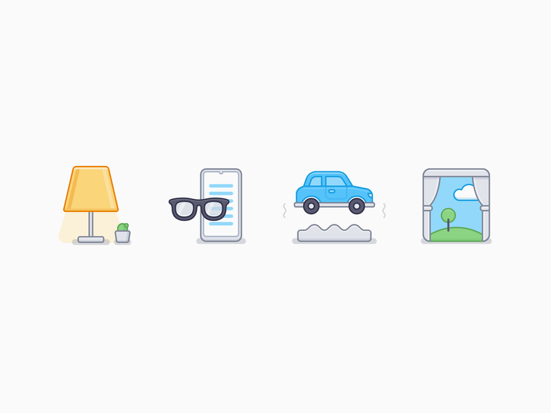 Iconographys field rural outside the window bumps myopia phone glasses table lamp ux icon ui icon user interface icon outline line illustration iconography icon sandor