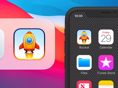 Rocket 3 ux icon ui icon user interface icon bigsur big sur skeu skeuomorph skeuomorphism mac icon macos icon osx icon ios icon iphone icon realistic app icon sandor wing space ship spaceship space capsule space rocket engine aircraft engine aircraft