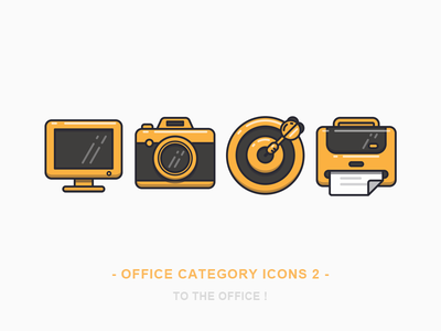 Office Category Icons 2 computer camera dartboard darts paper printer icon office illustration sandor iconography outline