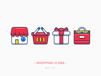 Shopping Icons bag shopping bag gift box basket market store line sandor outline illustration iconography shopping