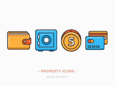 Property Icons money credit card bank vault coin wallet icon iconography illustration outline sandor