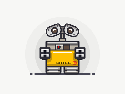 WALL·E movie character pixar line sandor outline illustration iconography icon robot wall·e