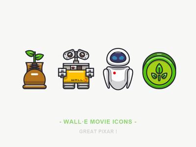 WALL·E Movie Icons movie pixar line sandor outline illustration iconography eve wall·e vegetation plant boot