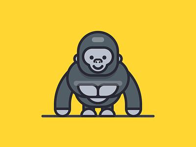 Gorilla primate character illustration iconography sandor cartoon animal outline gorilla
