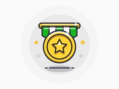 Medal star gold prize medal icon iconography illustration outline sandor line award