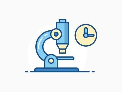Microscope magnifier instrument tool science clock icon iconography illustration outline sandor line microscope
