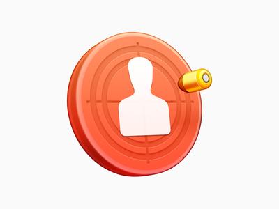 Targeting firearms pistol arms ux icon ui icon user interface icon skeu skeuomorph skeuomorphism mac icon macos icon osx icon app icon realistic hit bullet target shooting sandor targeting