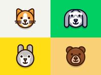 Animals mac emoticon character illustration iconography cartoon outline lovely cute sandor avatar animal
