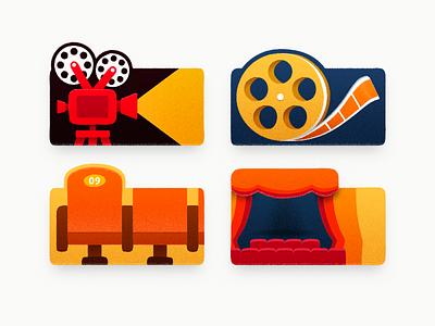 Movies theater cinema seats cinema movie projector sandor icon iconography illustration movie film projector light