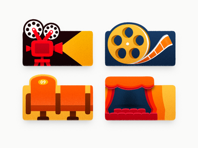 Movies theater cinema seats cinema movie projector sandor icon iconography illustration movie film projector light