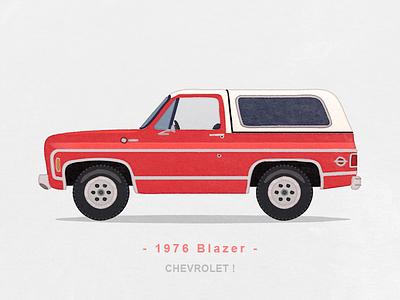 1976 Blazer watercolor illustration iconography icon sandor car suv blazer chevrolet