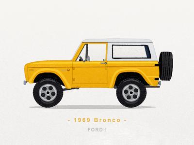 1969 Bronco truck ford bronco suv car sandor icon iconography illustration watercolor