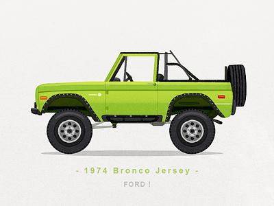 1974 Bronco Jersey ford bronco ford bronco jersey jersey watercolor illustration iconography icon sandor car suv bronco ford
