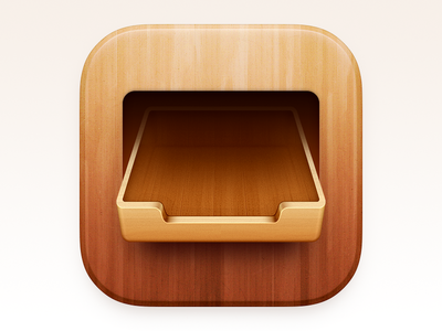 Drawer Icon wood grain ux icon ui icon user interface icon bigsur big sur skeu skeuomorph skeuomorphism mac icon macos icon osx icon ios icon iphone icon realistic inbox folder file cabinets wood drawer app icon sandor