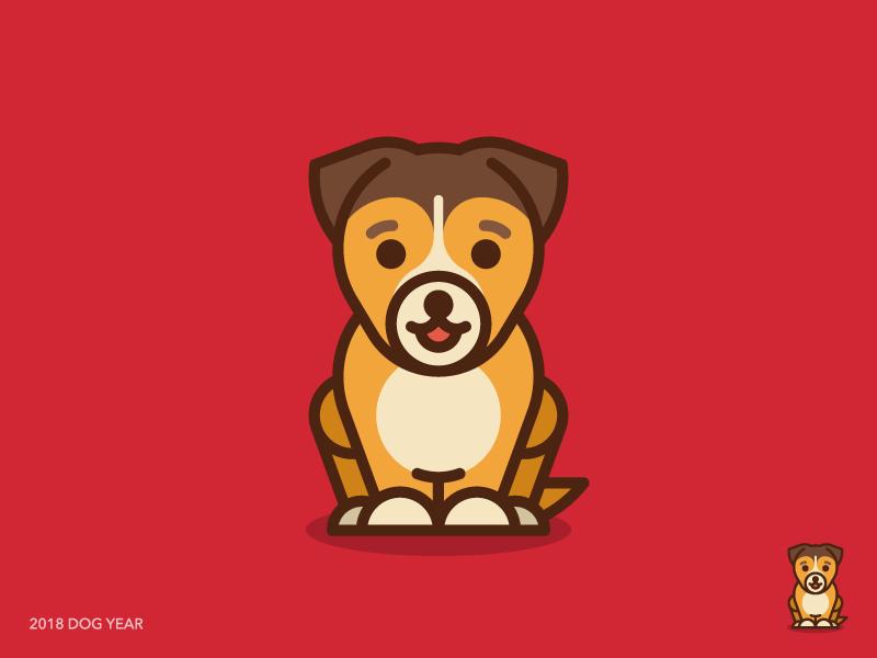 2018 Dog Year 2018 dog year sandor new year happy new year 2018 dog dog year illustration logo iconography line outline