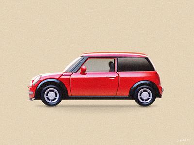 RED Mini Cooper sandor racing texture painting illustration redcar mini minicooper car