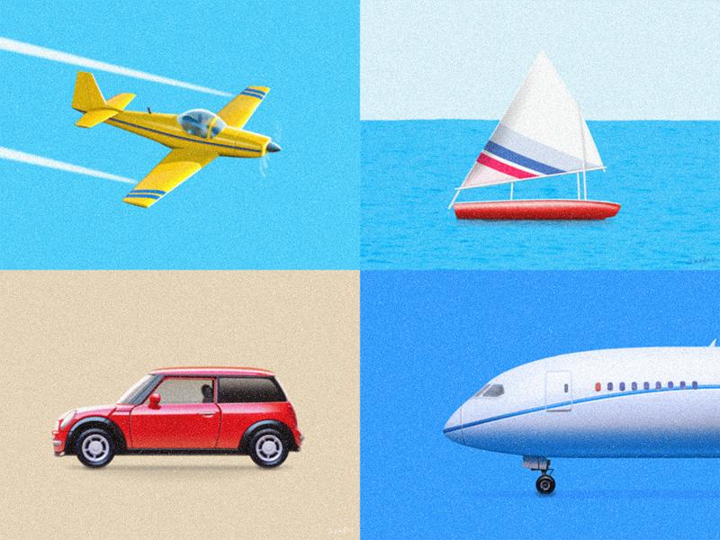 Transportation Illustration airplane minicooper transportation painting plane illustration sailboat aircraft airliner boat car sandor