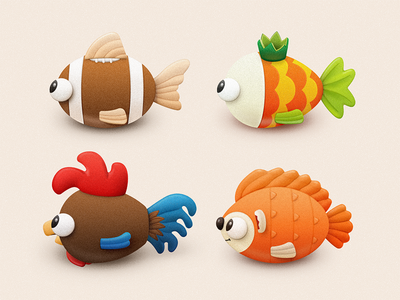 Oddfish crown soft toy toy hedgehog goldfish rooster cock football fish sandor illustration oddfish