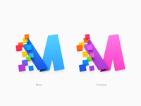 """M"" Icon Blue & Fuchsia"