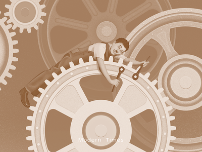 Modern Times sandor film movie factory industry wheel gearwheel gear chaplin illustration times modern modern times