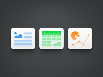 Office Icons ux icon ui icon user interface icon skeu skeuomorph skeuomorphism mac icon macos icon osx icon realistic app icon pie chart form chart excel word powerpoint wps sandor office