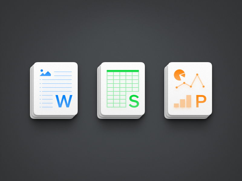 Office Icons 2 ux icon ui icon user interface icon skeu skeuomorph skeuomorphism mac icon macos icon osx icon realistic app icon office sandor wps powerpoint word excel chart form pie chart