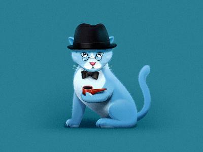 Schrödinger's Cat hat top hat pipe kitten animal illustration sandor cute schrodinger schrödinger cat cat schrödinger