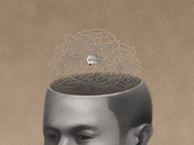 The Razor's Edge contemplation thinking meditation blood shaver blade razor razoredge maugham drawing sandor illustration