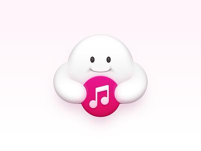 Cloud Music ux icon ui icon user interface icon skeu skeuomorph skeuomorphism mac icon macos icon osx icon note music cloud cloud music smartisan icon smartisan sandor realistic app icon