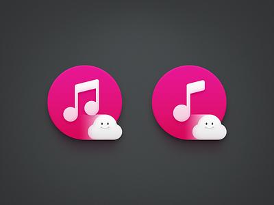 Cloud Music 2 ux icon ui icon user interface icon skeu skeuomorph skeuomorphism mac icon macos icon osx icon app icon realistic sandor smartisan smartisan icon cloud music cloud music note