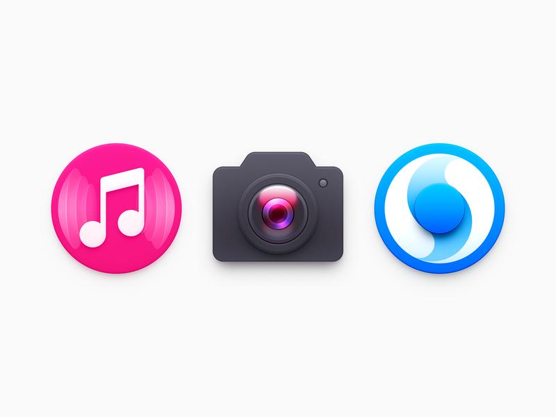 Icons sound wave sonic tai chi camera lens browser ux icon ui icon user interface icon skeu skeuomorph skeuomorphism mac icon macos icon osx icon music player note camera icon music icon camera music app icon realistic sandor