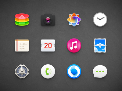 OS Icons album gallery photo phone icon message icon mail email e-mail stamp camera lens ux icon ui icon user interface icon skeu skeuomorph skeuomorphism mac icon macos icon osx icon sandor realistic app icon store camera clock calendar music setting browser