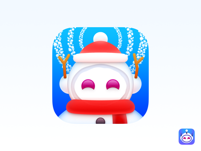 "2018 ""Apollo"" Christmas Themed Icon big sur bigsur ui icon skeu skeuomorph skeuomorphism mac icon macos icon osx icon ios icon iphone icon scarf reddit apollo for reddit apollo christmas hat snowing snowball snowflake snowman christmas merry christmas realistic sandor app icon"