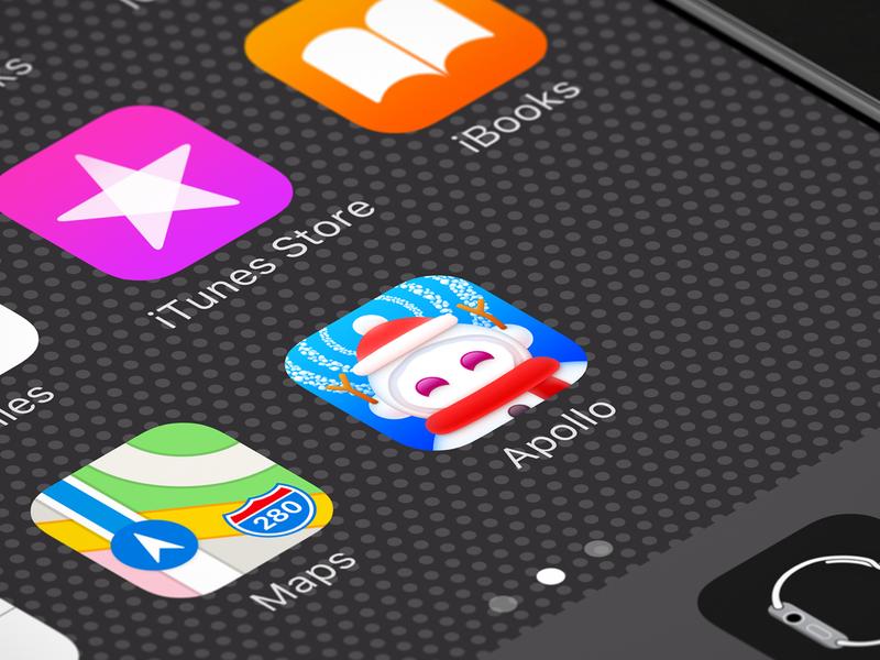 "2018 ""Apollo"" Christmas Themed Icon app app icon iphone icon os icon ios icon sandor icon realistic iphone merry christmas christmas snowman snowflake snowball snowing christmas hat apollo apollo for reddit reddit scarf"