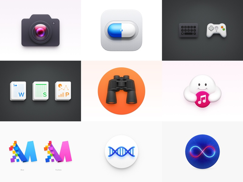 2018 Best Nine Icon ux icon ui icon user interface icon skeu skeuomorph skeuomorphism mac icon macos icon osx icon ios icon iphone icon realistic app icon genetic dna cloud music binoculars office icon gamepad keyboard pill capsule 2018 best nine sandor camera icon