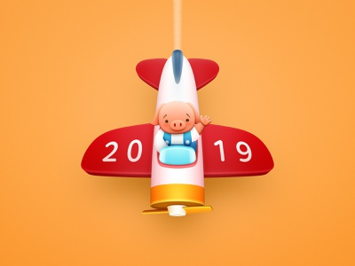 Wallpaper for 2019 Year of the Pig 豬 wallpaper pig sandor illuatration plane light aircraft aircraft airplane 2019 2019 year happy new year piggy chinese new year realistic icon os icon smartisan free download character