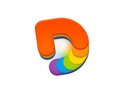 """D"" Icon rainbow color ux icon ui icon user interface icon skeu skeuomorph skeuomorphism mac icon macos icon osx icon sandor logo d logo realistic d icon app icon"