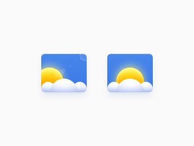 Weather Icon ux icon ui icon user interface icon skeu skeuomorph skeuomorphism mac icon macos icon osx icon sunshine weather sky blue sky cloud icon sun smartisan sandor realistic cloud weather icon app icon