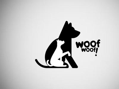 Logo Woof! minimal animal illustrator photoshop web branding designer logo design ilustrator