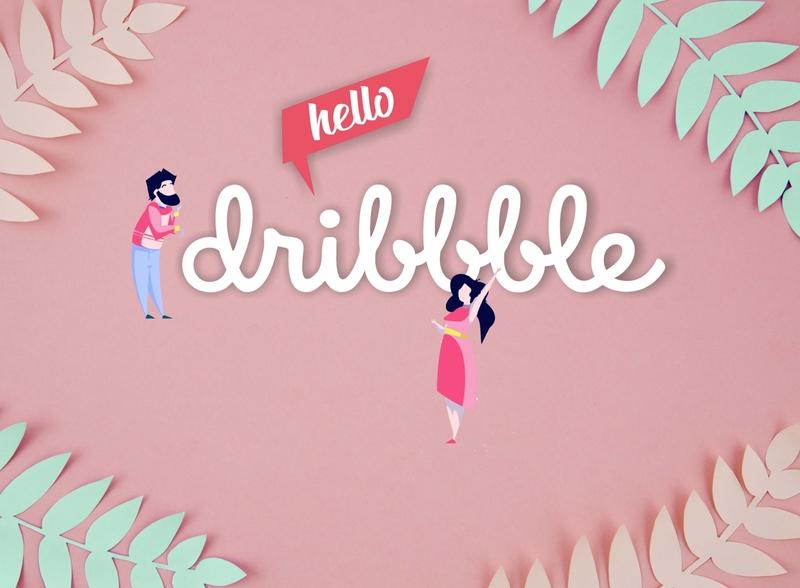 Hello!! designer logo ilustrator illustrator branding photoshop design dribbble best shot pink paper dribbble invite hellodribbble hello