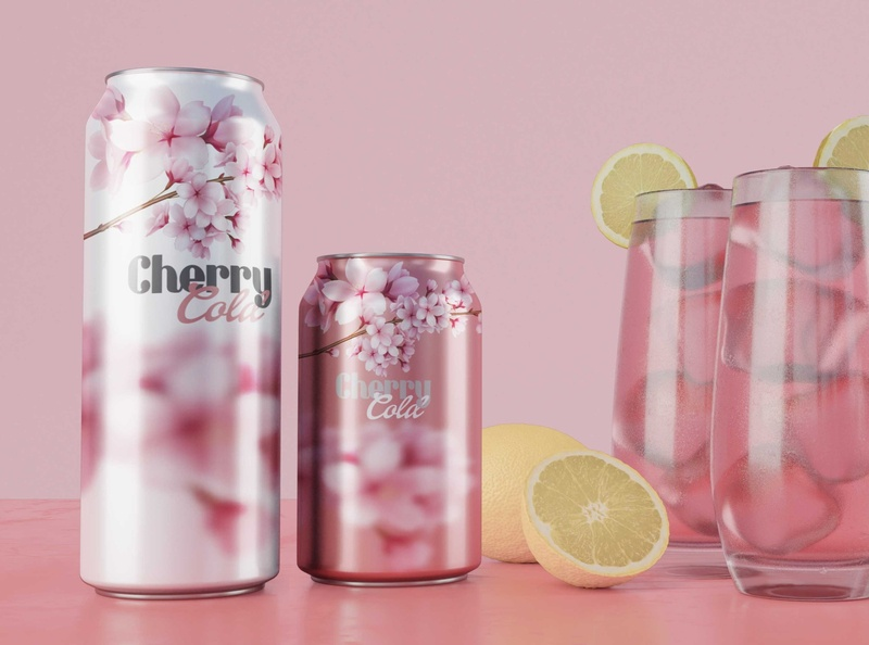 Cherry Cold! social gaseosa soda can symbol sketch simple soda mockup saturnz barz vector illustration designer logo ilustrator illustrator branding photoshop