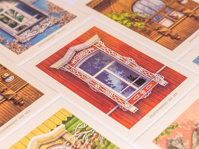 Postcards with Yekaterinburg Windows affinity postcard illustration