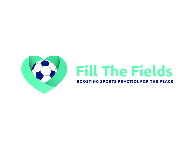Fill the fields children turquoise sports charity non-profit graphic design soccer logo soccer logo