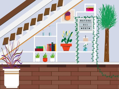 Plants at my entry way woodfloor concept stairway entryway room books coffee colorpalette plants color clean minimal website web vector ui design illustration