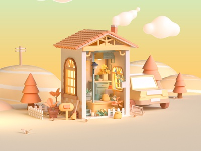 box house graphic design 3d