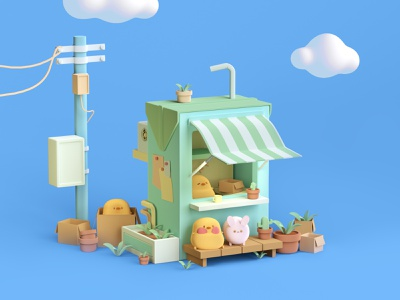 box house style illustration design character 3d