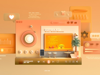 Drink&Music style character ui illustration design 3d