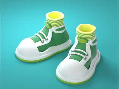 cartoon shoes style fashion ui design 3d character