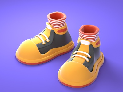 cartoon shoes design illustration ui 3d style character